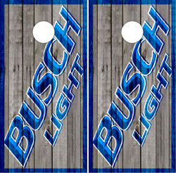 Busch Light Barnwood Cornhole Wraps Vinyl Boards Decals Bag Toss Game Stickers