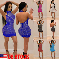 US Sexy Women Casual Short Dress Club Cocktail Party Evening Bodycon Sleeveless