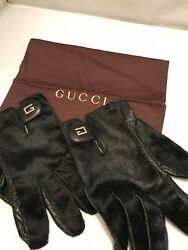 GUCCI MEN'S LEATHER 100% CASHMERE LINING GLOVES 95