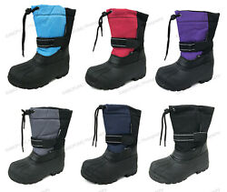 Boys Girls Snow Boots Winter Waterproof Fur Lined Ski Childrens Youth Size:4.5 7 $14.99