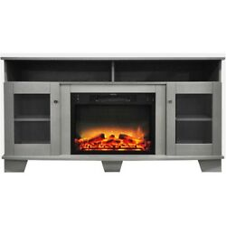 Electric Fire Place Fifty Nine Inches Gray Media Console Enhanced Log Display