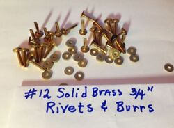 SIZE #12 SOLID BRASS RIVETS amp; BURRS WASHERS 3 4quot; Long Pack of 12 Sets U.S SELLER $5.95