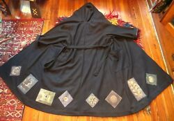 SALE Rare Outrageous Blue Fish Long Wool Hooded Coat Art to Wear