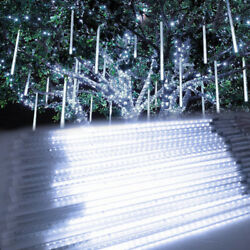 192 384 LED Meteor Shower Lights Falling Star Tree Drop Icicle Snow Xmas Fairy