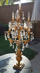 Rare antique crystal chandelier table lamp $750.00