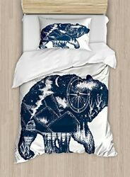 Cabin Decor Duvet Cover Set By Ambesonne Bear Double Exposure Tattoo Art Image