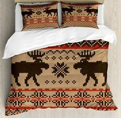 Cabin Decor Queen Size Duvet Cover Set By Ambesonne Knitted Swatch With Deers