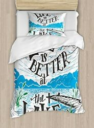 Cabin Decor Duvet Cover Set By Ambesonne Life Is Better At The Lake Wooden 2 1