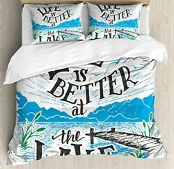 Cabin Decor Queen Size Duvet Cover Set By Ambesonne Life Is Better At The Lake