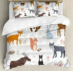 Ambesonne Cabin Decor Duvet Cover Set Queen Size Cute Animals In Spring Meadow
