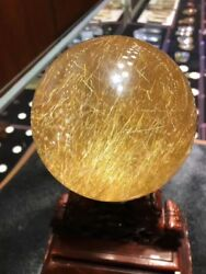 100mm Huge! Rare Natural Clear Gold Rutilated Quartz Crystal Sphere Ball Healing