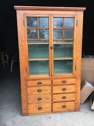"""gorgeous heart pine butler style pantry cabinet c1890 - 85.5"""" h x 50"""" w x 18.5""""d"""