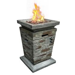Gas Fire Pit Table Column Outdoor Patio Garden Fire pit Fireplace w Lava Stone