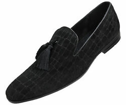 Amali Men's Exotic Velvet Loafer Slip On with Black Fabric Tassel Dress Shoe