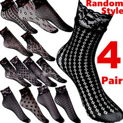 4 Women Socks Soft Argyle Strip Stockings Casual Cotton Lace Floral Xmas Gifts $5.98