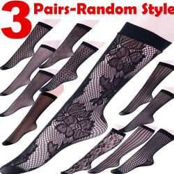 3 Women Socks Soft Knee Stocking Stripe Casual Cotton Lace High Floral Xmas Gift $5.98