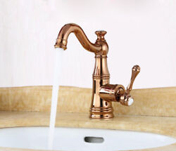 Bathroom Basin Sink Faucet Single Handle Hot Cold Mixer Brass Rose Gold Tap N64 $251.98