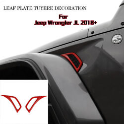 Pair Red Car Leaf Plate Air Inlet Trim Cover Decor For 2018 Jeep Wrangler JL ABS $13.99