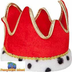Red amp; Gold Soft King Queen Royal Crown Novelty Adults Mens Fancy Dress Accessory GBP 5.29