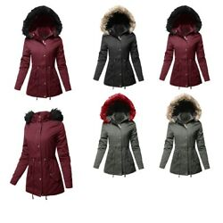 FashionOutfit Women's Hooded Warm Long Coats Faux Fur Fleece Lined Parka Outdoor
