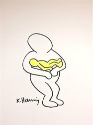 ORIGINAL KEITH HARING HAND-DRAWN AND SIGNED INK * MOTHER AND CHILD* ON CARDSTOCK