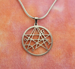 Necronomicon Necklace HP Lovecraft Symbol Stainless Steel Magic Charm Pendant $12.00