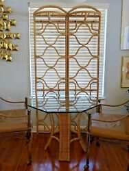 Vintage Rattan 2 Panel Storage Folding Screen Coat Rack Hooks Shelves Tropical