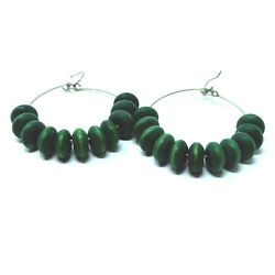 Vintage 1980s earrings dangly hoops with green wooden beads pierced