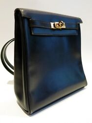 Authentic Vintage HERMES from 1997 Kelly Ado PM Backpack in Black Box Calf