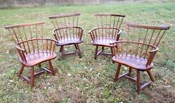 SET OF 4 OLD HICKORY WINDSOR ADIRONDACK LOG CABIN RUSTIC FANBACK ARMCHAIRS