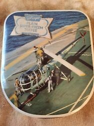 Vintage Sharps Toffee Candy Tin Helicopter on Aircraft Carrier WWII? England $35.00