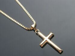 Real 10Kt Yellow Gold CROSS Pendant Necklace amp; Solid 10k gold box Chain $49.99