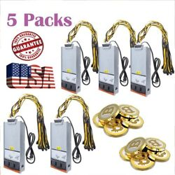 5X 2880W Power Supply Mining for Antminer Two X2 Video Card w Harness Cable MA