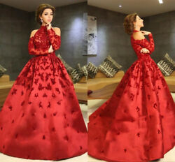 Luxury Red High Neck Celebrity Evening Dresses Appliques Beaded Formal Prom Gown