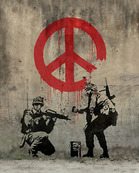 Banksy Soldiers Painting Peace Graffiti Art Giclee Canvas Print 10.75