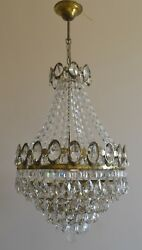 Pendant French Basket Style Vintage Brass Crystals Chandelier Antique Lamp 1970s $425.00