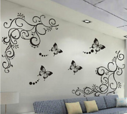 Wall Butterfly Flower Sticker 3D Classic Floral Poster For Home Wall Decorations $12.93