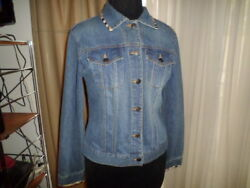 TOO-SHE-SHE BLUE JEAN JACKET WITH NOVA CHECK TRIM ON COLLAR AND SLEEVES SZ MED