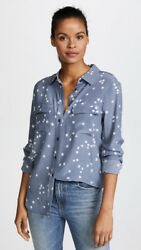 New Arrival $248 Silk Slim Signature Star Equipment Shirt Middle Blue