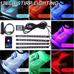 4X Interior RGB Floor LED Neon Strip Light Wireless Music Control APP Control $15.80