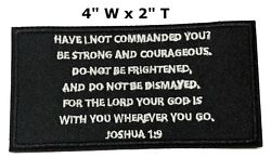 JOSHUA 1:9 Iron-On Patch Christian Morale Tactical Military Emblem Embroidered
