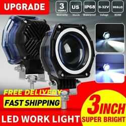 2X 3inch 70W LED Driving Light Blue DRL Offroad Truck Front Bumper Fog Lamp 4'' $21.99