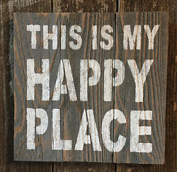 Beach Cabin Decor THIS IS MY HAPPY PLACE Rustic Wood Bar Pub Wall Art HP Sign