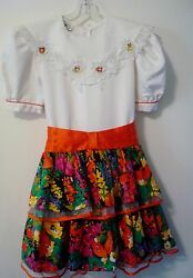 Fiesta Party DRESS Girl Sz 14 Bright Colors Orange Sash Tiered Skirt w Tulle $17.90