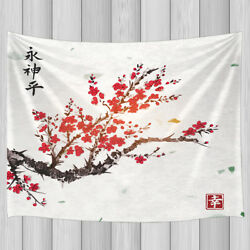 Japanese Cherry Blossom Oil Painting Art Tapestry Wall Hanging Room Dorm Decor