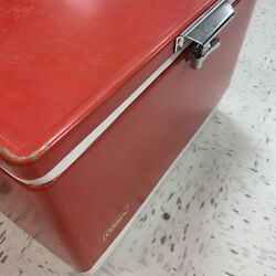 Vtg 28quot; Wide 70s Red Metal Coleman Cooler Chest with Handles Camping Props $110.00