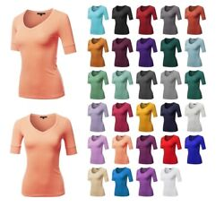 FashionOutfit Womens Solid Elbow Sleeves V-Neck Casual Basic Cotton Based Top $7.49