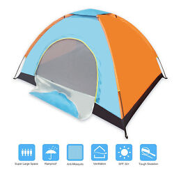 2 Person Tent Camping Backpacking Dome Shelter Outdoor Small Tent Blue .