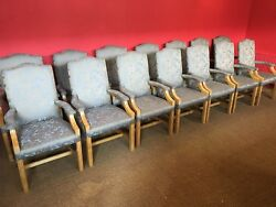 Magnificent set 14 Oak dining chairs to be French polished and or upholstered