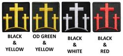 Three Crosses Embroidered Iron On Patch - Christian Religous Memorial Biker
